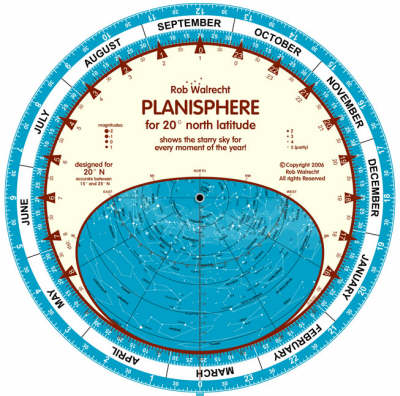 Planisphere for 20 Degrees North Latitude: Shows the Starry Sky for Every Moment of the Year - English planispheres PLN-N20