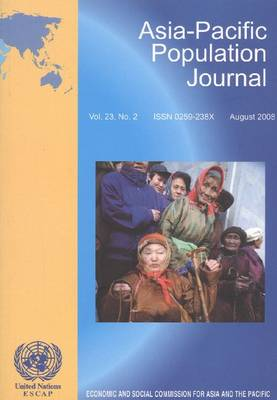 Asia-Pacific Population Journal: August 2008 v. 23, No. 2 (Paperback)