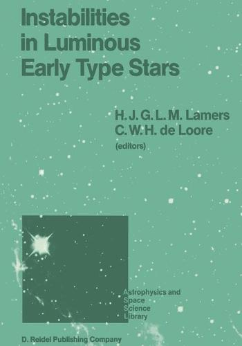 Instabilities in Luminous Early Type Stars: Proceedings of a Workshop in Honour of Professor Cees De Jager on the Occasion of his 65th Birthday held in Lunteren, The Netherlands, 21-24 April 1986 - Astrophysics and Space Science Library 136 (Paperback)