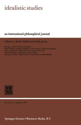 Idealistic Studies: An International Philosophical Journal (Paperback)
