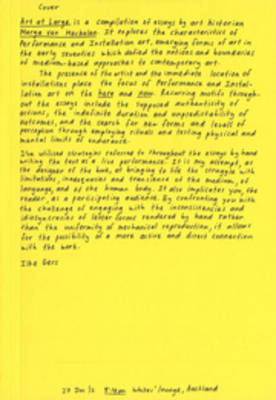Art at Large - Through Performance and Installation Art (Paperback)