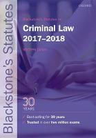 Blackstone's Statutes on Criminal Law 2017-2018