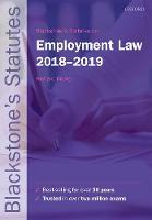 Blackstone's Statutes on Employment Law 2018-2019