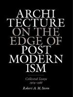 Architecture on the Edge of Postmodernism: Collected Essays, 1964-1988 (Hardback)