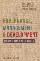 Governance, Management and Development: Making the State Work (Hardback)