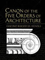 Canon of the Five Orders of Architecture - Dover Architecture (Paperback)