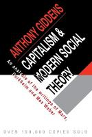 Capitalism and Modern Social Theory: An Analysis of the Writings of Marx, Durkheim and Max Weber (Paperback)