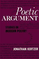 Poetic Argument: Studies in Modern Poetry (Hardback)