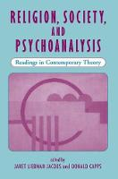 Religion, Society, And Psychoanalysis: Readings In Contemporary Theory (Paperback)