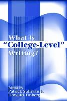 """What Is """"""""College-Level"""""""" Writing? (Paperback)"""