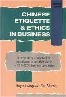 Chinese Etiquette & Ethics In Business (Paperback)