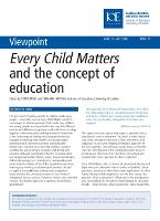 Every Child Matters and the Concept of Education - Viewpoint 17