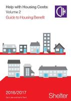 Help With Housing Costs: Volume 2: Guide to Housing Benefits, 2016-17 (Paperback)
