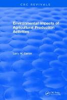 Environmental Impact of Agricultural Production Activities (Hardback)