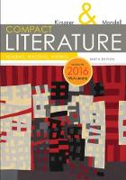 COMPACT Literature: Reading, Reacting, Writing, 2016 MLA Update (Paperback)