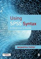 Using SPSS Syntax: A Beginner's Guide (Paperback)