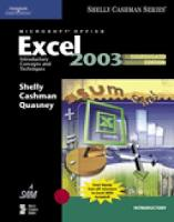 Microsoft Office Excel 2003: Introductory Concepts and Techniques, (Paperback)