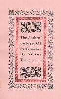 The Anthropology of Performance (Paperback)