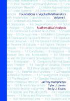 Foundations of Applied Mathematics, Volume 1