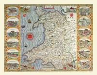 John Speeds Map of Wales 1611: Colour Print of Map of Wales 1611 by John Speed (Sheet map, flat)
