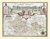John Speeds Map of Berkshire 1611: Colour Print of County Map of Berkshire 1611 by John Speed (Sheet map, flat)