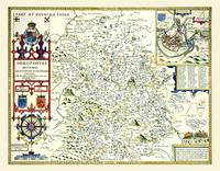 John Speeds Map of Shropshire 1611: Colour Print of County Map of Shropshire 1611 by John Speed (Sheet map, flat)