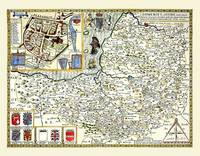 John Speeds Map of Somersetshire 1611: Colour Print of County Map of Somersetshire 1611 by John Speed (Sheet map, flat)