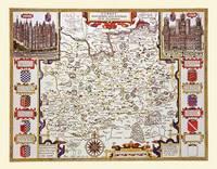 John Speed Map of Surrey 1611 by John Speed: Colour Print of County Map of Surrey by John Speed 1611 (Sheet map, flat)