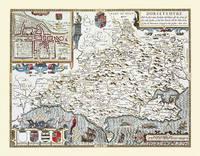John Speeds Map of Dorsetshire 1611: Colour Print of County Map of Dorsetshire 1611 by John Speed (Sheet map, flat)