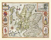 John Speeds Map of Scotland 1611: Colour Print of Map of Scotland 1611 by John Speed (Sheet map, flat)
