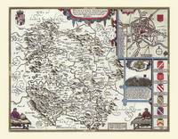 """John Speed Map of Herefordshire 1611: 30"""" x 25"""" Large Photographic Poster Print of the County of Herefordshire - England (Sheet map, rolled)"""
