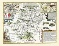"""John Speed Map of Hertfordshire 1611: 30"""" x 25"""" Large Photographic Poster Print of the County of Hertfordshire - England (Sheet map, rolled)"""