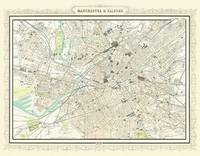 Map of Manchester 1898: Photographic Print of Map of Manchester and Salford 1898 (Sheet map, flat)