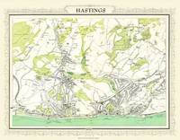 Map of Hastings 1898: Photographic Print of Map of Hastings 1898 (Sheet map, flat)