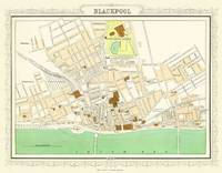 Map of Blackpool 1898: Colour Print of Map of Blackpool 1898 (Sheet map, flat)