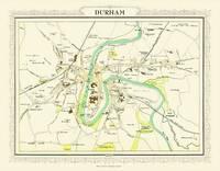 John Bartholomew's Map of Durham 1898: Colour Print of Map of Durham 1898 (Sheet map, flat)