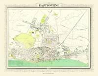 John Bartholomews Map of Eastbourne 1898: Colour Print of Map of Eastbourne 1898 (Sheet map, flat)