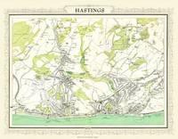 John Bartholomew's Map of Hastings 1898: Colour Print of Map of Hastings 1898 (Sheet map, flat)