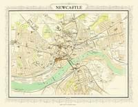 John Bartholomew's Map of Newcastle 1898: Colour Print of Map of Newcastle 1898 (Sheet map, flat)
