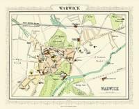 John Bartholomew's Map of Warwick 1898: Colour Print of Map of Warwick 1898 (Sheet map, flat)