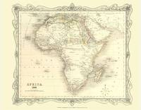 Map of Africa 1852: Photographic Print of Map of Africa 1852 (Sheet map, flat)