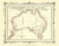H Collins Map of Australia 1852: Colour Photographic Print of Map of Australia 1852 (Sheet map, flat)