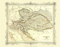 H Collins Map of Austria 1852: Colour Photographic Print of Map of Austria 1852 (Sheet map, flat)