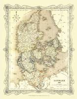H Collins Map of Denmark 1852: Colour Photographic Print of Map of Denmark 1852 (Sheet map, flat)