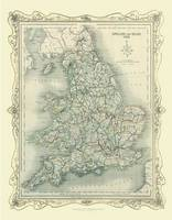 H Collins Map of England and Wales 1852: Colour Photographic Print of Map of England and Wales 1852 (Sheet map, flat)