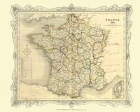 H Collins Map of France 1852: Colour Photographic Print of Map of France 1852 (Sheet map, flat)