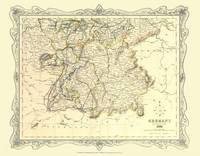 H Collins Map of Southern Germany 1852: Colour Photographic Print of Map of Southern Germany 1852 (Sheet map, flat)