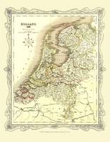 H Collins Map of Holland 1852: Colour Photographic Print of Map of Holland 1852 (Sheet map, flat)