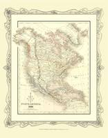 H Collins Map of North America 1852: Colour Photographic Print of North America 1852 (Sheet map, flat)