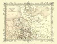 H Collins Map of Northern Germany 1852: Colour Photographic Print of Map of Northern Germany 1852 (Sheet map, flat)